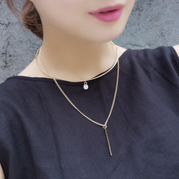Wholesale Metal Chocker - Romantic double layered Torques Necklace Fashion Metal Sweet Temperament Chocker Necklace Personality Fine Jewelry Women xr160622