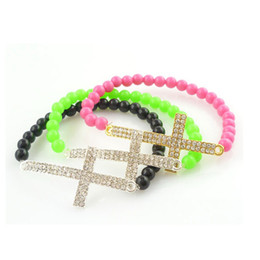 Wholesale Cross Bracelets Cheap - Cheap 3 Colors Beaded Cross Bracelets Bangles,Wholesale Arcylic Beads Strands Stretch Bracelets For Ladies Women's Jewelry
