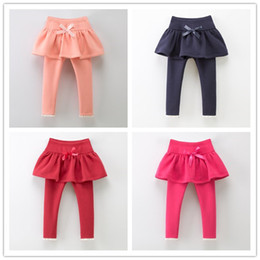 Wholesale Red Lace Tights Kids - Highr Quality Winter Thicken 2-7T Girls Legging for Dress Bowknot Lace Pantskirt Softy Cotton Children Kids Clothes Cotton Tights Girl K8058