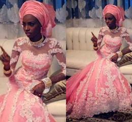 Canada Robes de mariée indiennes Hot Pink Sheer High Neck manches longues Illusion manches sirène robes de mariée dentelle Appliques cristal perlé pour les mariées Offre