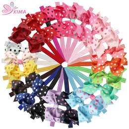 Wholesale little girls wholesale accessories - XIMA 22pcs lot 3.5''Little Girls Hair Accessories Dot Hair Bows with Headband Hair Ribbon Bows Hairband Boutique Headwear