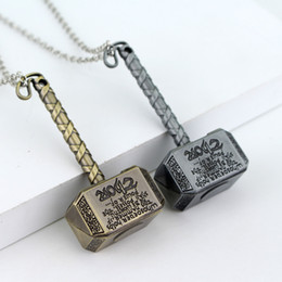 Wholesale Marvel Accessories Wholesale - Marvel Super Hero The Avengers Thor Cosplay Hammer Thor's Hammer Metal Pendant Necklaces Figure Accessory Free Shipping