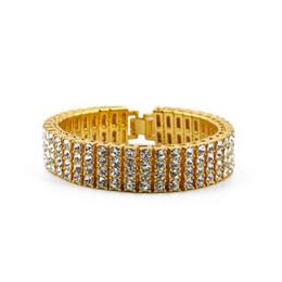 gold-diamant-tennis-armbänder Rabatt Männer Schwarz Gold Silber Finish 4 Row Diamant Simulieren Armband 8 Zoll Strass Iced Out Hip Hop Bling Armband Coole Schmuck