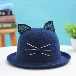 Wholesale Lanyard Lace - New loop lace cat ear curling basin cap parent child cap children's outdoor sunshade fisherman's cap children