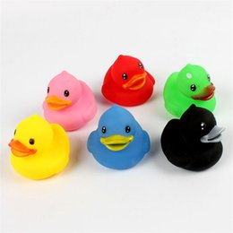 Wholesale Soft Inflatable Plastic Balls - 6Pcs set Animals Colorful Soft Rubber Float Squeeze Sound Squeaky Bath Toys Classic Rubber Duck Plastic Bathroom Swimming Toys Gifts