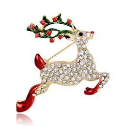 Wholesale Christmas Broches - AL051-A Popular American Christmas Jewelry 18K Gold Plated Alloy Metal Santa Elk Broches 2016 Best Sellers Multi Rhinestone Lapel Pins