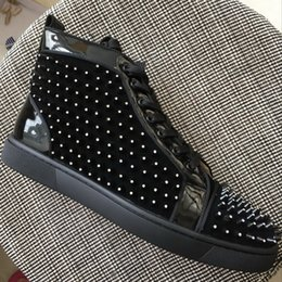Wholesale Long Black Shoe Laces - New men women rhinestone long spikes black leather high top red bottom sneakers,brand design flats causal sports shoes 35-47 Free shipping