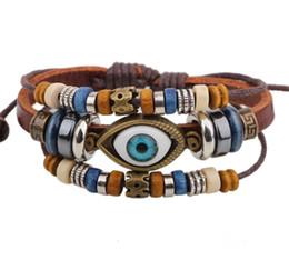 Wholesale Evil Eye Bracelet Handmade - Fashion wooden beads and casted evil eye leather bracelet, handmade boho diva beaded bracelet