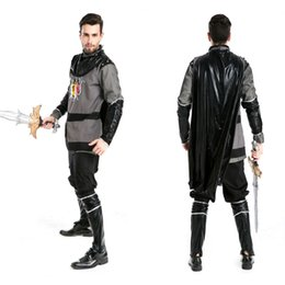 Wholesale Custom Cosplay Outfits - deluxe custom men halloween pirate viking warrior gladiator rome cosplay costumes party Medieval King outfits suit