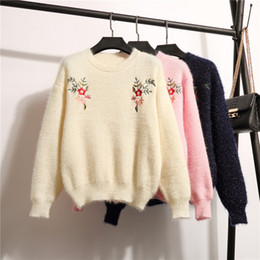 thick winter sweaters for women 2018 - Autumn Winter New Cashmere Sweater for Women O-neck Flower Embroidery Sweaters Pullovers Loose Warm Fleece Thick Knitwear