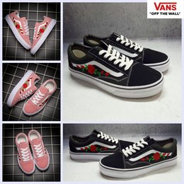 Wholesale Men Black High Top Shoes - 2018 Vans AMAC Customs Embroided Rose Pink High Top Shoes Women Men Black White Classic Designer Casual Canvas Sk8-hi Running Sneakers 35-44