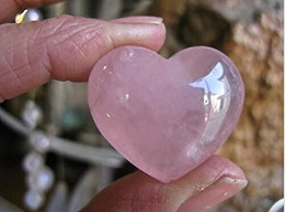 "Wholesale One Fans - 1.2"" Rose Quartz Puff Heart Worry Healing Stone"