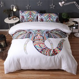 Wholesale 3d Flowers Cartoons - 3D Reactive Print Bedding Sets Fashion Animal Bedclothes Elephant Flower Pattern 3pcs Twin Queen King UK Queen Size Polyester   Cotton