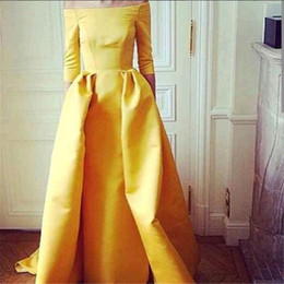 Wholesale Three Quarter Sleeve Prom Dress - Arabic Evening Gowns Dresses Robes De Soiree 2016 Longue Boat Neck Yellow Taffeta Cheap Prom Dresses with Three Quarter