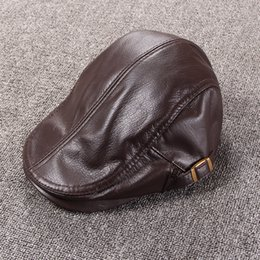 Wholesale Peaked Cap Leather - Autumn And Winter Men's Casual Handmade Genuine Leather Adjustable Flat Beret Hats High Quality Cow Leather Outdoor Peaked Cap