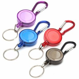 Wholesale Plastic Badges Straps - Wholesale Keychains Spreader Carabiner Mini Practical Multicolor Badge Retractable Reel Strap Belt Clip Key Ring