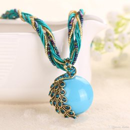 Wholesale Lady Multi Crystal Necklace - Cabochon and Crystal Peacock Pendant Necklace Multi Strands Twisted Glass Beads Choker Necklaces Popular 16 Colors For Lady Free Shipping