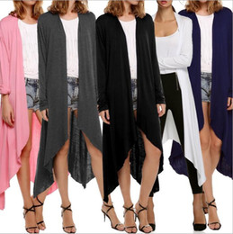 Wholesale Crew Neck Sweaters Wholesale - Long Sleeve Cardigans Women Fashion Outwear Casual Blouse Pullover Long Jacket Woman Vintage Coat Irregular Tops Loose Sweater Jumper B2653