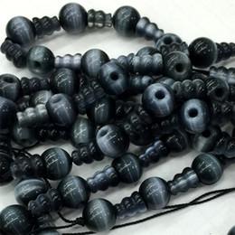 Wholesale Animal Crossing Cats - Dark Blue Cat's Cat Eye Pagoda Tee Buddha Head Tibet Guru Big Hole Beads Fit Jewelry DIY Necklaces (10 Beads lot) 04188