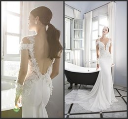 Wholesale Tight Satin Wedding Dresses - Beach Wedding Dresses Open Back White Chiffon Tight V Neck Sexy Design Long Sleeve Iullsion Bodice Backless Bridal Gowns Count Train