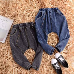 Wholesale Cheap Girls Fashion Pants - New Denim Cotton Fashion Jeans button Children Harem Pants Girls boys Casual Pants Baby Trousers Cheap Long Trousers Toddler Clothes A1038