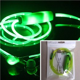 Wholesale Iphone Rechargable - LED Earphone With OPP Bag Flash Glowing Lighting Earphone Earpiece Earbud Shiny Headset Headphone USB Rechargable for iPhone 6S Plus Samsung