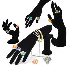 Wholesale Mannequin Hand Display - Hand Shaped Ring Stand Bracelet Holder Bangle Rack Jewelry Display Rings Shelf Black Velvet Female Mannequin Hand