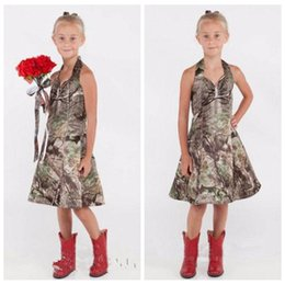 Wholesale Formal Tea Length Dresses Halter - Halter Camo Flower Girls Dresses Camouflage Tea Length Camouflage Formal Kids Children First Communion Party Gowns Countryside Formal Wear