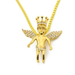Wholesale 14k Crown Pendant - Mens Vintage Crown Angel Wing Pendant Bead Chain 14K Gold Rhodium Plated Iced Out Pendant Necklace 24 Inch Long