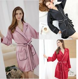 Wholesale Sexy Short Pajama Red - Sexy 2017 Floral Bridesmaid robes Long Sleeve V Neck Bridesmaid Pajama Short A Line Evening Party Robe