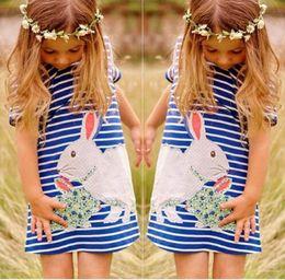 Wholesale New Girls Embroidered Dress - 2016 new Baby girls striped rabbit dress kids short sleeve cute rabbit dresses children clothes