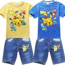 Wholesale Children Denim Shorts - Poke go Pikachu Boys girl stripe denim suit children Jeni turtle Sylveon Poke Ball Short sleeve T-shirt +shorts 2 pcs sets Suits B001