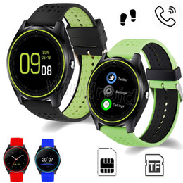 Wholesale Cheap Watch Mobile Phone - Cheap V9 Smart Watch Android Samsung Smart Watches SIM Intelligent Mobile Phone Watch Can Record the Sleep State Smart Watch with package