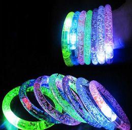 Wholesale Colorful Blinking Led - Hot LED Colorful Flashing Bracelet Light Blinking Crystal Bracelets party and gifts Free Shipping 300pcs lot JF-308