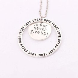 Wholesale Ups Link - Antique Silver Never Nerver Give Up Love Dream Hope Trust Pendant Necklaces 24 inches Chains N1677 8