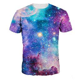 2019 camisetas coloridas por atacado Atacado-HUnique-verão estilo casual galáxia colorida espaço impresso 3D t shirt homens mulheres nova moda tops tees plus size t-shirt desconto camisetas coloridas por atacado