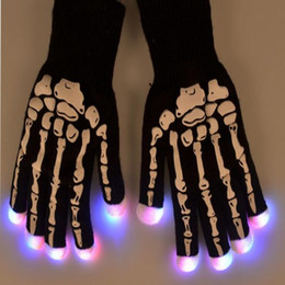 Wholesale Scary Skeleton - LED Skeleton Gloves Light Up Shows scary Knit Gloves Light Show Christmas Gloves for Party Rave Birthday Halloween Costume Novelty funny Toy