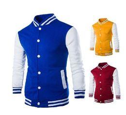 Wholesale Mens College Jackets - New Arrival Black Jacket Men Spring Fashion Mens Single Breasted Patchwork Varsity Letter man College Baseball Jacket Men's Clothing Co