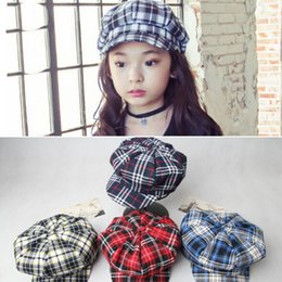 Wholesale Beret Kids Plaid Hats - Fashion Kids Berets Plaid Hats For Baby Boy And Girl Hat And Cap Plaid Caps and Hats for Children baby Fashion Spring Autumn Hats D500 5pcs