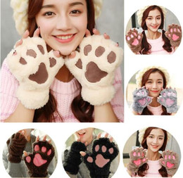 Wholesale Finger Cats - Winter Women Half Finger Gloves Cute Cat Claw Paw Plush Mittens Short Fingerless Cat Plush Paw Fluffy Bear Claw Glove Plush Mittens KKA2718