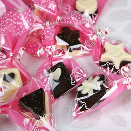 Wholesale Self Adhesive Bread Bags - Free Shipping Cookie Packaging Pink Heart Self-adhesive Plastic Bags For Party Biscuits Bread Baking Package 400Pcs Lot 7*10cm