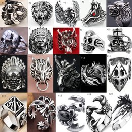 Wholesale Stainless Steel Skull Jewelry Wholesale - OverSize Gothic Skull Carved Biker Mixed Styles lots Men's Anti-Silver Rings Retro New Jewelry 20 styles(MOQ:1PC STYLE)