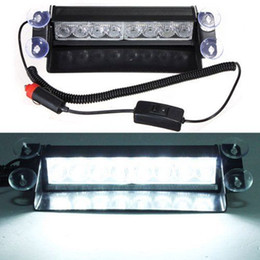 Wholesale Strobe Led Visor - 8W 8 LED Car Wind Dash Strobe Emergency Flash Warning Visor Light Lamp Bulb White