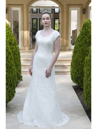 Wholesale Tulip Buttons - 2018 New Simple Lace Modest Wedding Dresses With Tulip Cap Sleeves Queen Anne Sweetheart Neckline Buttons Over Zipper Back LDS Bridal Gown