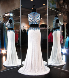 Wholesale Turquoise Dress Pictures - Ivory Two Piece Lace Prom Dresses 2016 High Neck Bling Turquoise Crystal Beaded Sweep Train Formal Evening Gowns New Arrival Fashion
