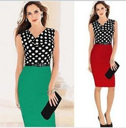 Wholesale Sleeveless Spandex Suits - 2016 The Summer Fashion Suit For OL Women Working Dreess Sleeveless White And Black Dot Decorate Dress