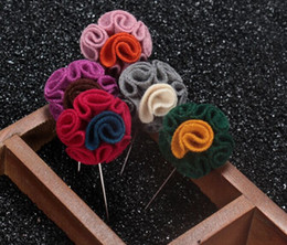 Wholesale Indian Fabric Wedding Dress - Double Color Nylon Fabric Flower Long Style Brooch Men's Suit Dress Brooches Pins with Diamond Fashion Men's Accessories Decorations