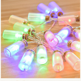 Wholesale Glass Tree Decorations - Glass Wishing Bottle Christmas String Light Warm White purple pink RGB LED Light Waterproof Romantic Fairy Pendant Halloween Decoration