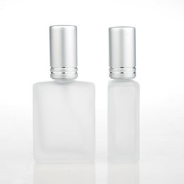 Wholesale Glass Cosmetics 15ml - Wholesale 100 Pieces Lot 15ML Tranparent Frosted Glass Refillable Perfume Bottle With Aluminum Sprayer Empty Cosmetic Parfum Case
