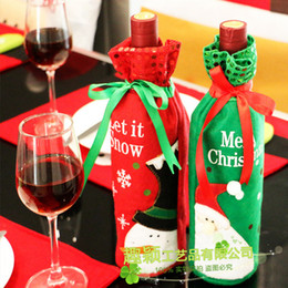 Wholesale Wholesale Red Sequin Fabric - Sequins Red Wine Bottle Cover Non Woven Fabric Embroidery Santa Gift Bag Champagne Set Christmas Decoration 3 6qy F R